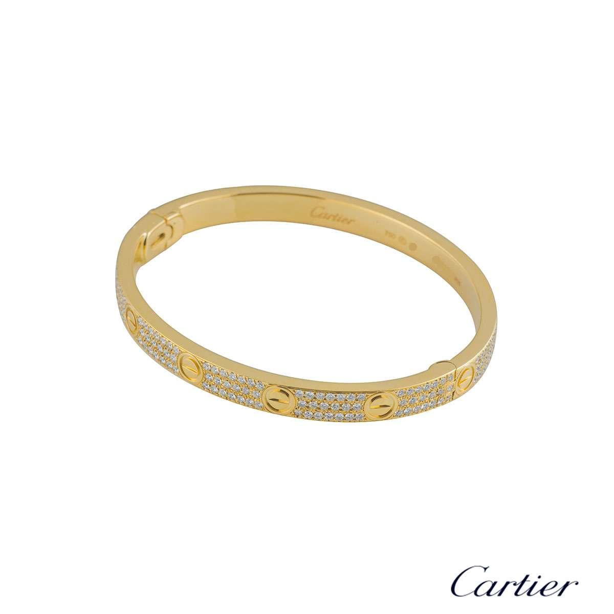Cartier Yellow Gold Pave Diamond Love Bracelet Size 19 N6035019